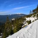 Jmenuje se to Jesenická lyžařská magistrála a dnes ve všední den jsme potkali asi tak pět lidí.