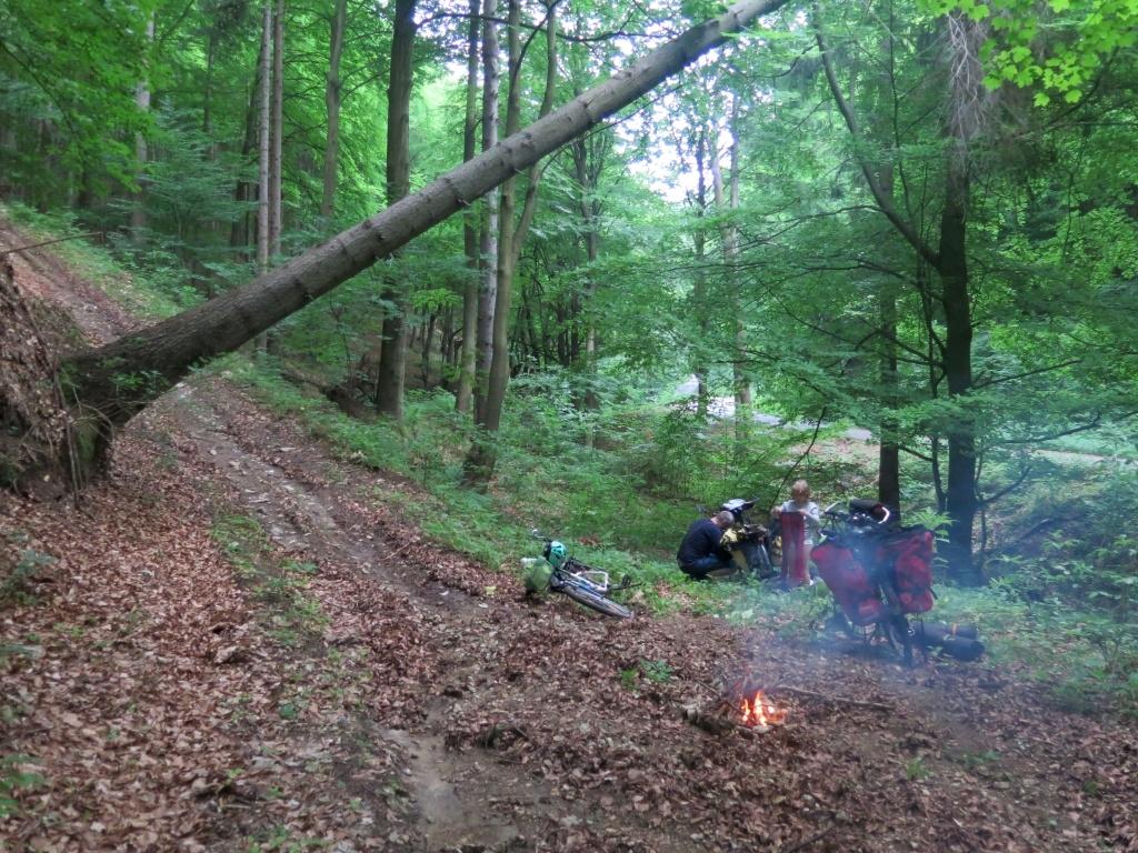 V lese nakonec docela nouzově Luděk objevil plácek akorát na jeden stan. Ale krásně tam šuměl potůček a tak se opět potvrdilo, že se někdy lépe spí na nouzovkách než na krásných místech. Jo a ten šikmý strom, to bylo vypočítané... :-) kdyby náhodou spadl, spadne nám v noci na kola :-)