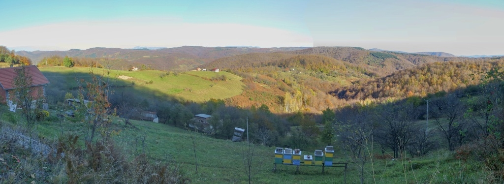 Výhledy na roztroušené samoty a v dáli jsou vidět kopce NP Tara, kolem kterého obtéká řeka Drina. Pozor, neplést s Tarou v Černé Hoře.