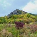Košťál (481 m) s hradem Košťálov se tyčí přímo nad námi. Hlavně, aby tam nebylo stejné bahno jako včera na Milé.