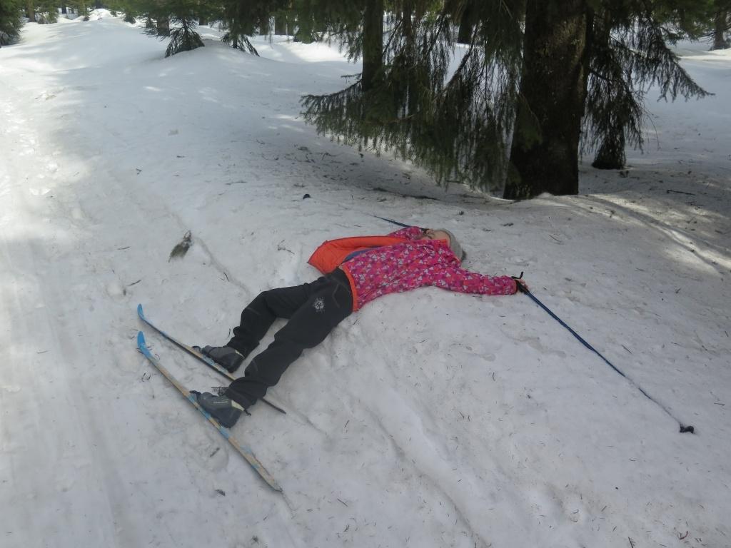 Šárčina oblíbená běžkařská pozice :-)