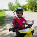 Šárka cyklistka. Museli jsme jí nechat přestavět řazení na kole, s původní přehazkou v náboji by ty kopce nevyjela.