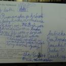 Šárka píše pohled babičce do Prahy