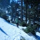 Cesta se bohužel stočila na nesluneční stranu kopce a trochu přituhlo. Pěšinka zmizela pod sněhem.