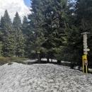 Nad Františkovou chatou (cca 1250 m n. m.) je v lese sněhu ještě souvislá vrstva