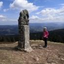 Šárka u sochy Slůněte kousek pod vrcholem (cca 1360 m n. m.)