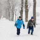 Stoupání ke klášteru nad Králíky v hustém sněžení