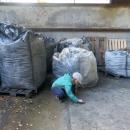 V opuštěných budovách patřících ke grafitovému lomu (nachází se poblíž Velkého Vrbna a dnes je u něj zimní parkoviště) jsme našli ještě zbytky tohoto nerostu. Šárka zkouší, zda se s ním dá psát.