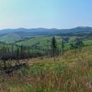 Hřeben tady utvořil oblouk a i cesta se na chvíli stočila jakoby zpátky, takže máme nádherný pohled na celou hřebenovku Bukovské poloniny. Před nějakou dobou tady asi hořelo, stromy jsou ohořelé, ale tráva už je zelená.