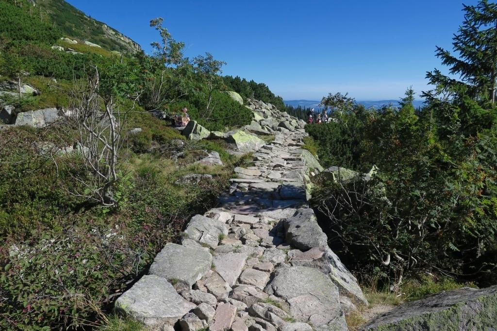 Vyskládaný chodníček jako někde v Nízkých Tatrách