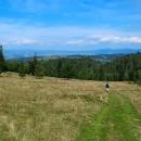 Stoupání na Bukovec (1127 m), v této části nejvyšší vrch