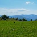 Malá skalka pod vrcholem Bukovce a výhled na Rudohoří