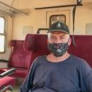"""Ve vlaku jsme si nasadili """"rúško"""" a s jedním přestupem v Margecanech dojeli pohodlně jednou z nejkrásnějších tratí na Slovensku zpátky do Telgártu."""