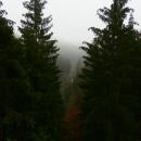Je vidět jen údolí Moravy, silnice a kdyby nebyla mlha, možná i nějaký ten kopec. Pořád ale doufáme, že nad mlhu vylezeme.