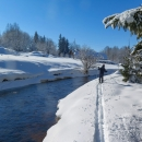Do Stožce jsme to vzali volně lesem a ocitli se na břehu Studené Vltavy. Brodit se nám opravdu nechtělo, když je to ta Studená, tak jsme jeli podél vody dál... (PS: No, Teplou bychom taky nebrodili :-) )