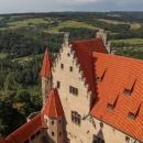 Výhled z věže, kde princezna Jasněnka čekala na svého ševce.