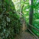 Musíme vystoupat šedesát metrů vzhůru (bez kol, ta zůstala dole) na Zkamenělý zámek, jak se nazývá skalisko nad údolím