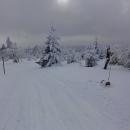 Cesta vede přímo po hranici, před sebou v mracích tušíme hřeben Kralického Sněžníku