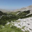 Cesta vede kamenným polem, prodírá se kosodřevinou – výstup je prudký a náročný, ale naštěstí ne moc dlouhý.