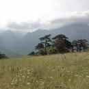 Občasné výhledy na skalnaté kopce před námi nám zpestřují sestup.