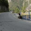 Za přehradou je místečko akorát pro stopování.