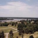 Výhled z hradu na soutok Sávy a Dunaje
