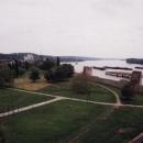 Výhled ze Smedereva na Dunaj. Je v těchto místech skutečně hodně široký