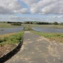 Řeka je rozlitá až k protipovodňovému valu, to znamená několik stovek metrů.