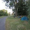 Naše tábořiště na kilometru č. 1
