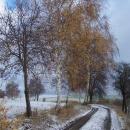 Ještě podzimní krajinu pokryl první snížek