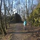 Cesta vede po bývalé lesní železnici.