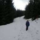 Po pár kilometrech se napojujeme na vrstevnicovou cestu úbočím Radhoště a znovu se boříme do sněhu.