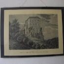 Hrad Houska roku 1846, tehdy měl hrad ještě příkop