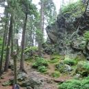 Černá skála (1039 m), začíná hřmět, na hřebeni se přestávám cítit dobře :-)