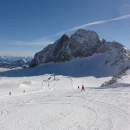 Poprvé v životě lyžujeme v Alpách, poprvé v životě lyžujeme na ledovci. Tento je ale snad nejmenší ledovec v Alpách ...