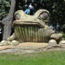 Olšiakovy sochy jsou nejen na Vysočině, ale ztvárnil například i tuto žábu v Tršicích