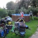 A poslední koupel nás čeká navečer, na chatě Iva a Jitky.