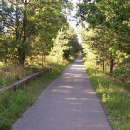 Cyklostezka vede kousek po náspu bývalé železnice