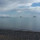 Moře u Sasnitz, velkého přístavu, ze kterého odplouvají trajekty až do Skandinávie