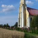 Kostel ve Slezských Pavlovicích na konci světa. Přes pole je už Polsko.