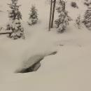 Kaskády Prudkého potoka pod sněhem