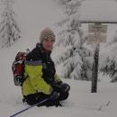 Náš nejvyšší bod. Právě jsme zdolali romantické údolí zaváté asi metrovou vrstvou sněhu