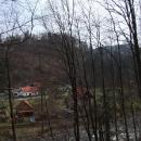 Skrze neolistěné stromy prosvítá hrad Litice