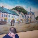 Náměstí v Brandýse n.O. s hradem - kresba (obraz visí v hospodě na náměstí)