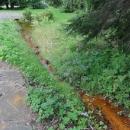 V potoce teče železitá voda