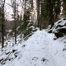 Do kopce to jde ztuha, cesta je namrzlá a klouže to.