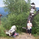 Náš malý turista na jednom z vrcholů Čergova (Lysá 1068 m.n.m.)
