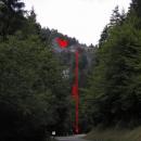 Tudy cesta nevede (šipka ukazuje silnici) - stejně jsme to zmákli