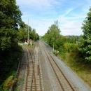 Zde v Mittelherwigsdorfu se odděluje železnice zpátky do Čech na Varnsdorf