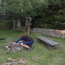 Naše tábořiště u ruiny starého schroniska pod Velkou Sovou. Luděk rozfoukává ohniště, ještě tam byly žhavé uhlíky.